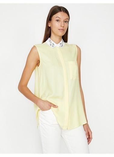 Koton Yaka Detaylı Gömlek Sarı